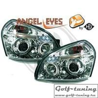 Hyundai Tucson 04-10 Фары с линзами и ангельскими глазками хром