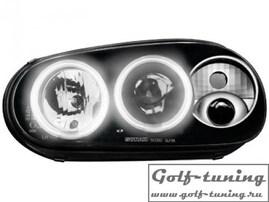 VW Golf 4 Фары с ангельскими глазками и линзами черные, поворотник сбоку