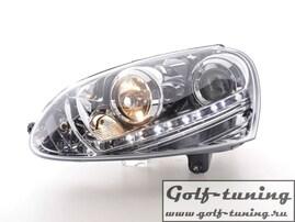 VW Golf 5 Фары Devil eyes, Dayline хром