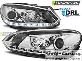 VW Golf 6 Фары с линзами хром