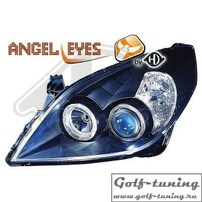 Opel Vectra С 05-08 Фары с ангельскими глазками и линзами черные