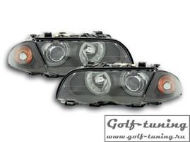 BMW E46 4Дв 98-01 Фары с линзами и ангельскими глазками черные xenon conversion kit