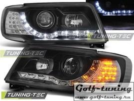 Audi 100 90-94 Фары DAYLIGHT черные с светодиодным поворотником