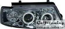 VW Passat B5 Фары с линзами и ангельскими глазками хром