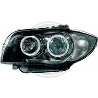 BMW E87 04-11 Фары с линзами и LED ангельскими глазками черные
