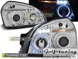 Hyundai Tucson 04-10 Фары Angel eyes хром