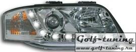 Audi A6 4B 00-04 Фары Devil eyes, Dayline хром