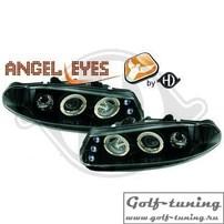Rover 200 95-00 Фары с линзами и ангельскими глазками черные
