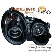 Mercedes W208 97-02 Фары с ангельскими глазками и линзами черные