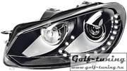 VW Golf 6 Фары GTI черные под ксенон с дневными ходовыми огнями