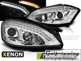 Mercedes W221 05-09 Фары daylight design хром в стиле W222 под ксенон