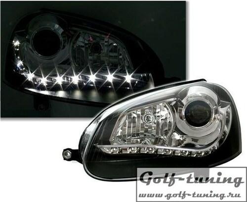 VW Golf 5 Фары Devil eyes, Dayline черные