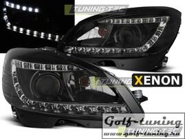 Mercedes W204 07-10 Фары Devil eyes, Dayline под ксенон черные