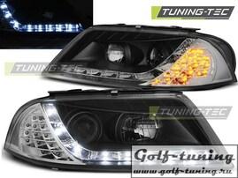 VW Passat B5+ Фары Devil eyes, Dayline с светодиодным поворотником черныe