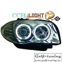 BMW E87 04-11 Фары с линзами и CCFL ангельскими глазками хром
