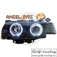 BMW E38 98-01 Фары с линзами и ангельскими глазками черные