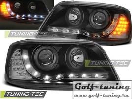 VW T5 03-09 Фары Devil eyes, Dayline с светодиодным поворотником черные