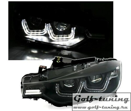 BMW F30 11-15 Фары с Led светящимися скобками черные под ксенон