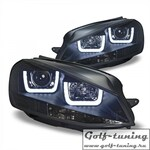 VW Golf 7 12-17 Фары с 3D ангельскими глазками черные