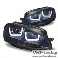 VW Golf 7 12-17 Фары с 3D led ангельскими глазками черные