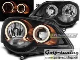 VW Polo 9N 05-09 Фары Angel eyes черные