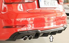 Audi A3 8V Седан/Кабрио 16- Накладка на задний бампер/диффузор глянцевая