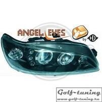 Peugeot 306 97-01 Фары с линзами и ангельскими глазками черные