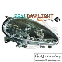 Fiat Grande Punto 09-12 Фары Devil eyes, Dayline черные