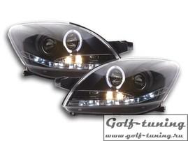 Toyota Yaris 08- Фары Devil eyes, Dayline черные с ангельскими глазками