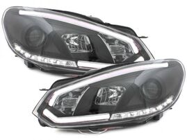 VW Golf 6 Фары Devil eyes, Dayline черные Light Tube design