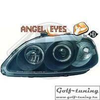 Honda Civic 99-01 Фары с линзами и ангельскими глазками черные