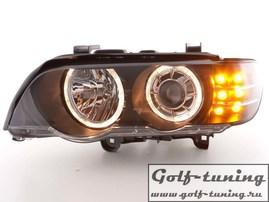 BMW X5 E53 00-03 Фары с линзами и ангельскими глазками черные с светодиодным поворотником