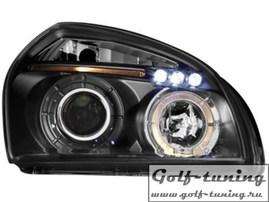 Hyundai Tucson 04-10 Фары с линзами и ангельскими глазками черные