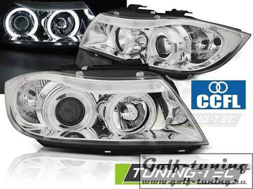 BMW E90/E91 05-08 Фары angel eyes с CCFL глазками хром