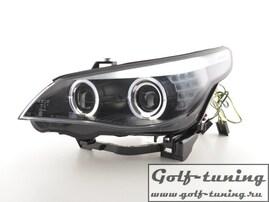 BMW E60 05-08 Фары с линзами и ангельскими глазками черные под ксенон