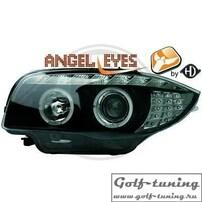 BMW E87 04-11 Фары Devil eyes, Dayline черные с светодиодным поворотником