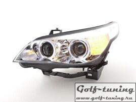 BMW E60 03-07 Фары с линзами и ангельскими глазками хром с светодиодным поворотником