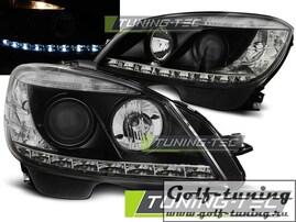 Mercedes W204 07-10 Фары с линзами черные