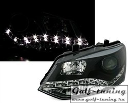 VW Polo Sedan Фары Devil eyes, Dayline черные