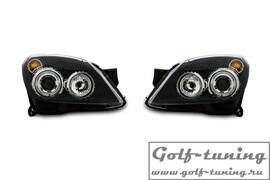 Opel Astra H Фары с линзами и ангельскими глазками черные