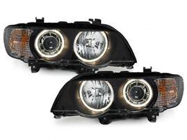 BMW X5 98-03 Фары с линзами и ангельскими глазками черные под ксенон