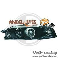 Fiat Punto 93-98 Фары с ангельскими глазками и линзами черные