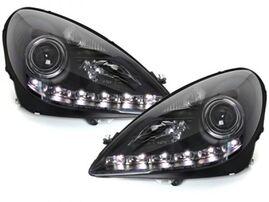 Mercedes R171 SLK 04-11 Фары Devil eyes, Dayline черные