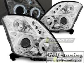 Suzuki Swift 05-10 Фары Angel eyes хром