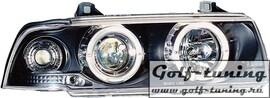BMW E36 4Дв Фары с линзами и ангельскими глазками черные