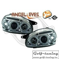 Opel Corsa B 93-00 Фары с линзами и ангельскими глазками хром