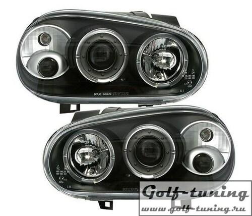 VW Golf 4 Фары с ангельскими глазками и линзами черные