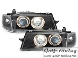 Opel Vectra A 88-95 Фары с ангельскими глазками и линзами черные