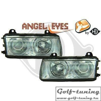 BMW E36 Фары с линзами и ангельскими глазками хром