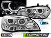 BMW X5 E70 07-10 Фары с светодиодными ангельскими глазками под ксенон хром